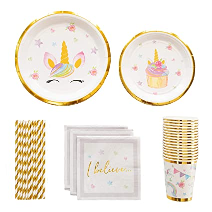 Amazon.com: Unicorn Party Supplies Set – Platos de lámina de ...