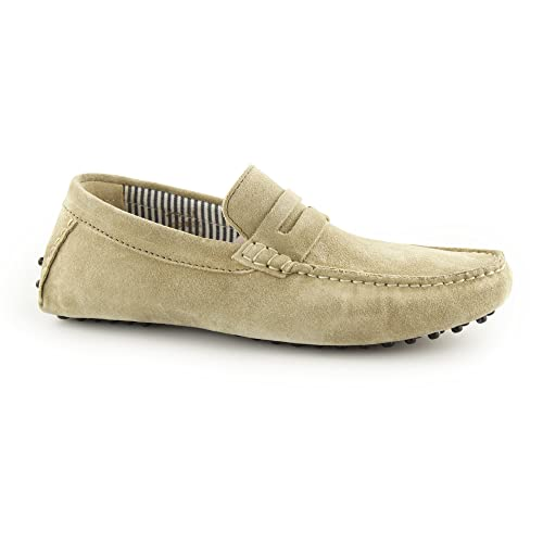 f16f9f7bce6 Ikon JENSON Mens Suede Slip On Moccasin Driving Loafers Taupe UK 6