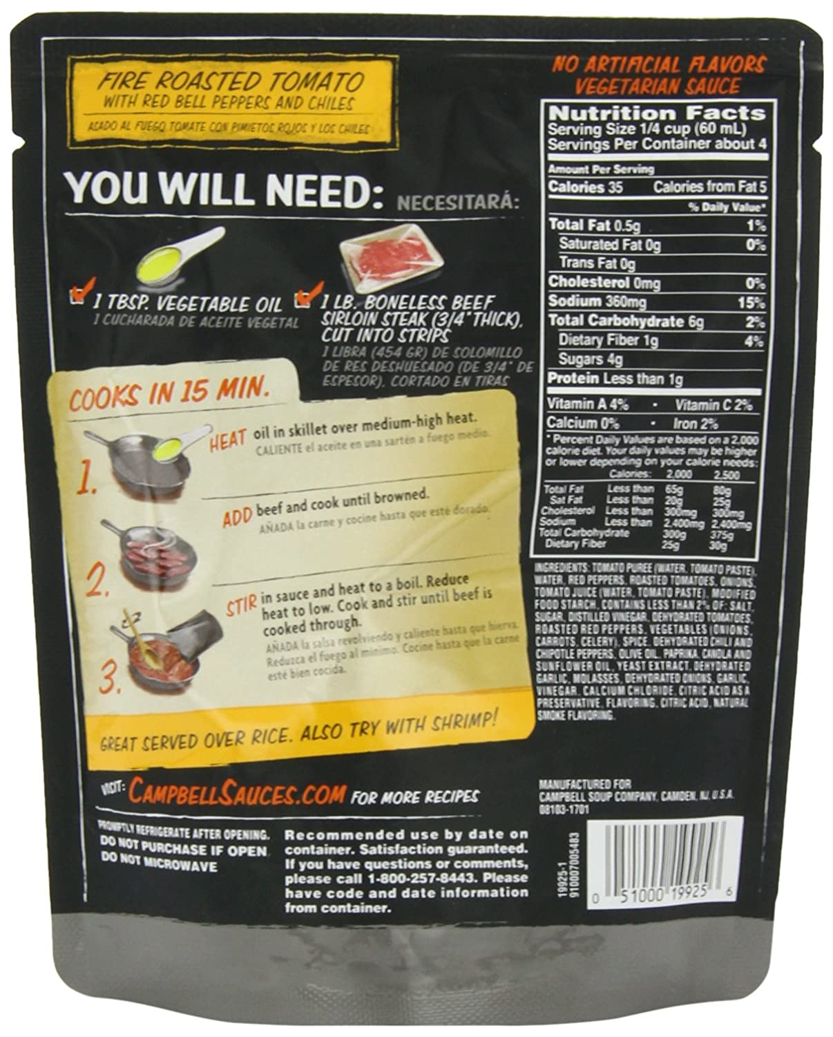 Amazon.com : Campbells Skillet Sauces, Fire Roasted Tomato Red Pepper and Chiles, 9-Ounce Pouch : Marinades And Seasoning Mixes : Grocery & Gourmet Food