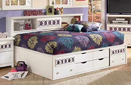 Amazoncom Ashley Zayley White Storage Full Size Bed Kitchen Dining