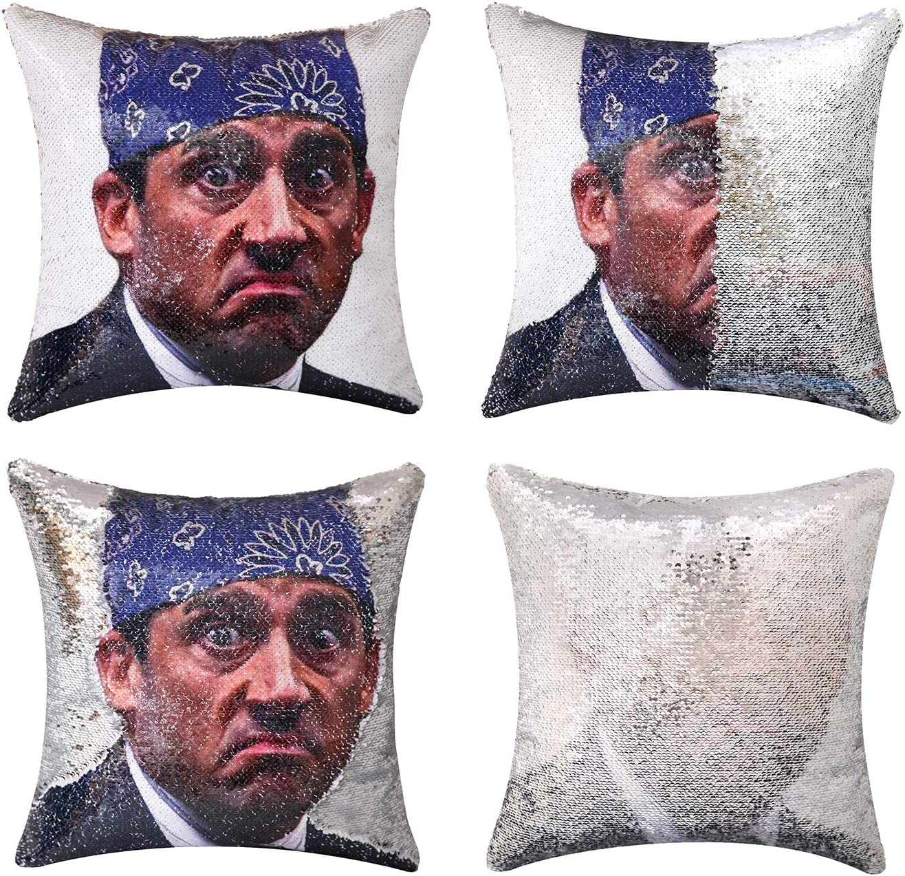 cygnus The Office Michael Scott Quote Humor Sequin Reversible Pillowcover Mermaid Flip Pillow Case That Color Change Decor Cushion 16x16 inches (Silver Sequin)