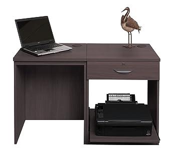 Home Mobiliario de Oficina UK pequeño Ordenador portátil Impresora Mesa para niños Kids Escritorio de Ordenador (2 Piezas, Madera de Nogal, Grano de Madera ...