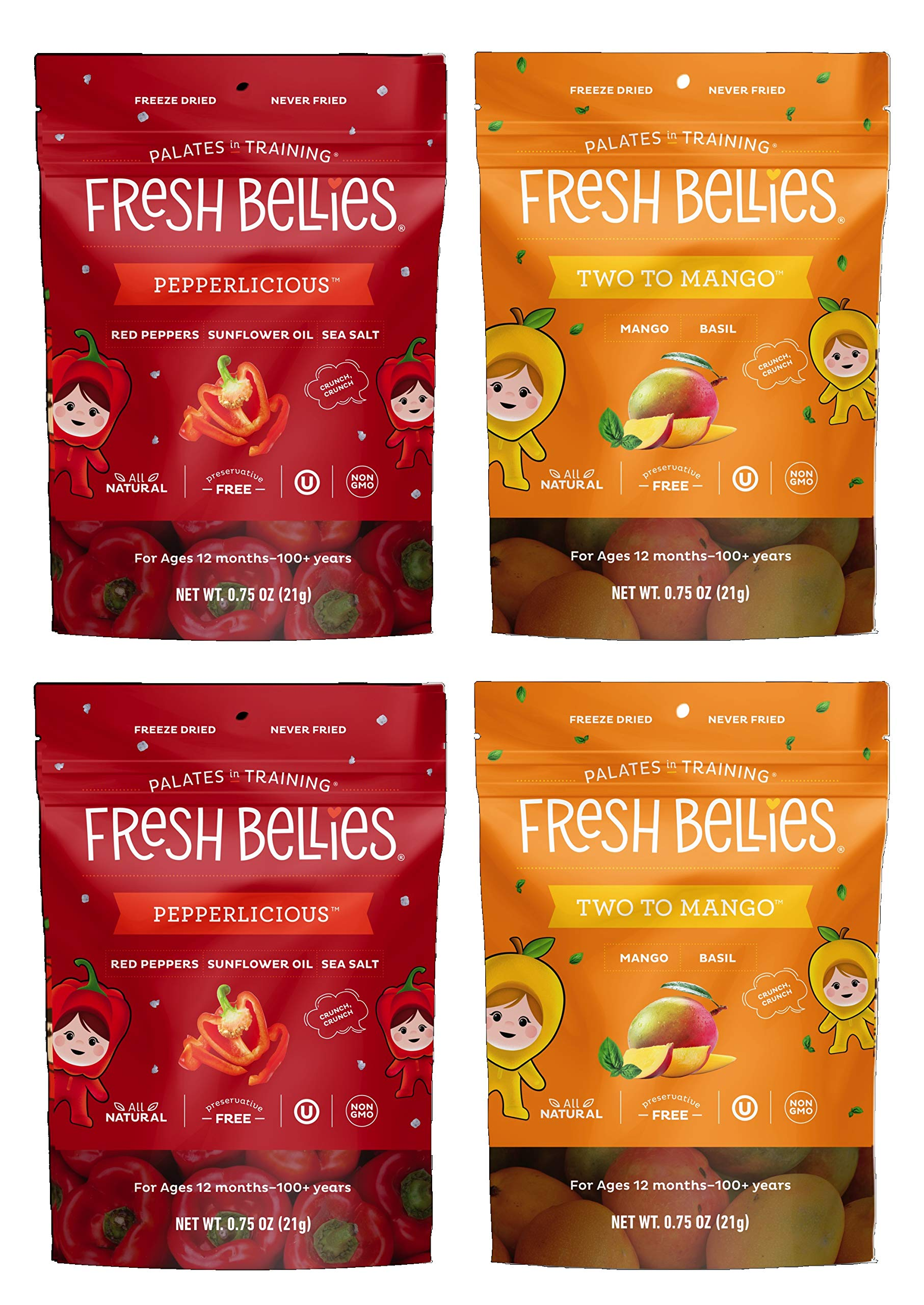 Fresh Bellies Toddler Snacks Variety 4 pack, Two to Mango & Pepperlicious (2 of each) by Fresh Bellies
