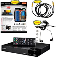 Sony BDP-S3700 Blu-Ray Disc Player Built in WiFi - 5 Pack Kit - Remote Control - 3 Pc Cleaning Kit - High Speed HDMI Cable - Xtreme Ear Buds (1 Year Warranty)