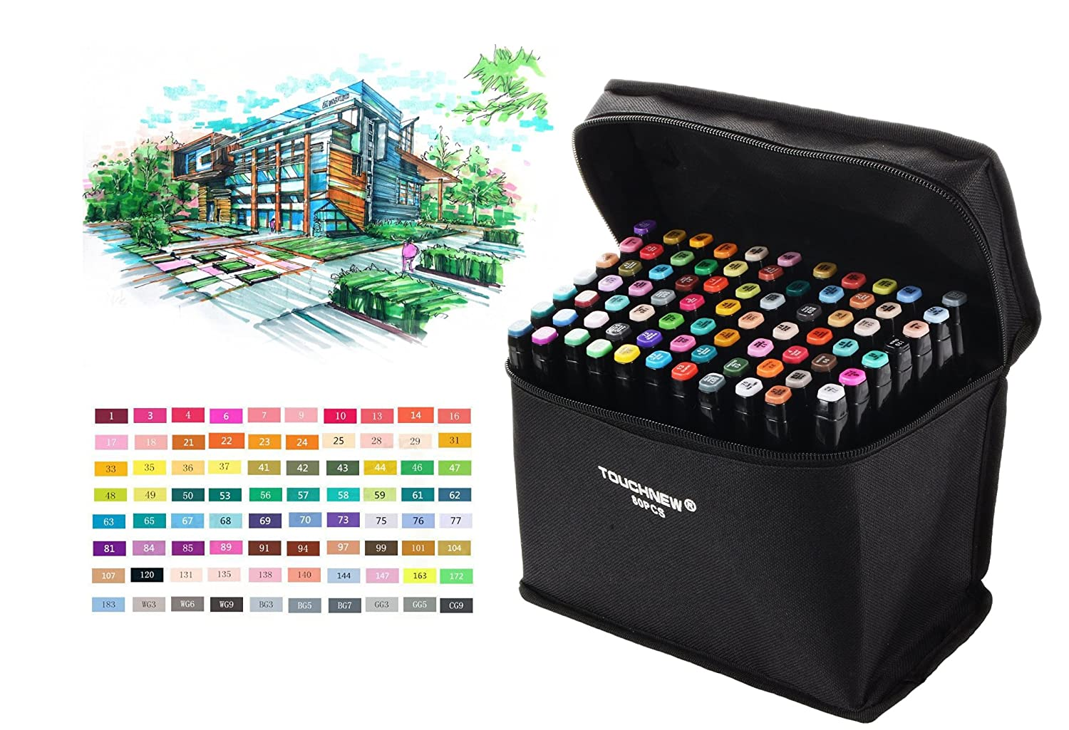 Togood 40 Different Colors Art Sketch Twin Marker Pens,Dual Tips Broad Fine Professional Marker Set for Coloring Painting Manga Design