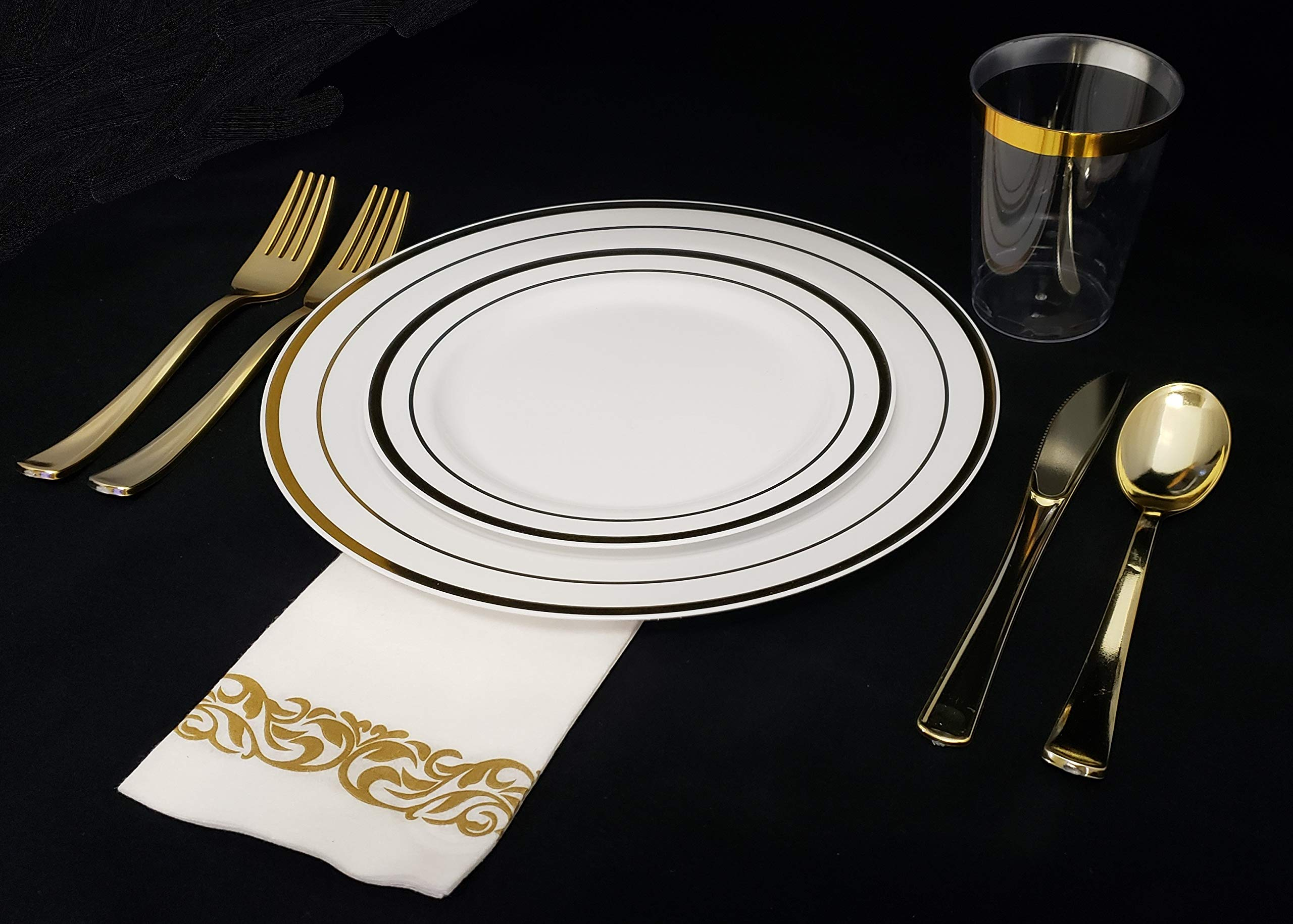 Disposable Plastic Plates - 60 Pack - 30 x 10.25'' Dinner and 30 x 7.5'' Salad Combo - Gold Trim Real China Design - Premium Heavy Duty - By Aya's Cutlery Kingdom by Aya's Cutlery Kingdom