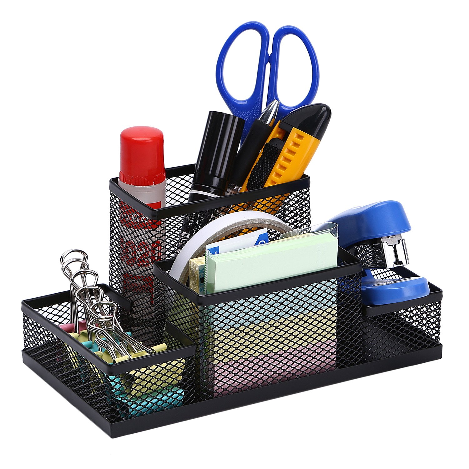 TOROTON Office Supply Caddy, 3 Compartments Mesh Metal Office Desk Organizer Letter Tray with Pen Pencil Holder -Black