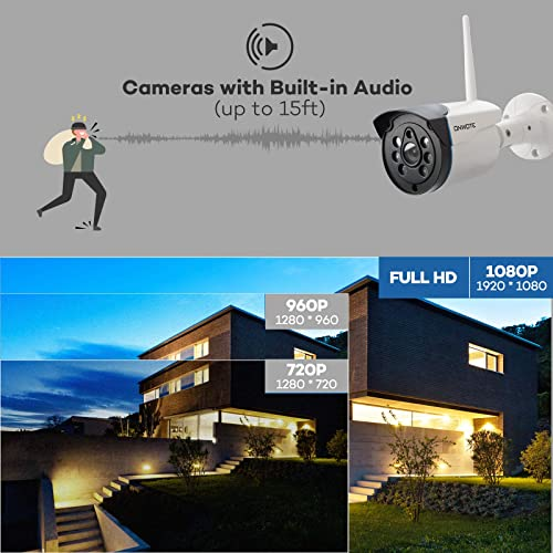 Expandable 8CH, Audio ONWOTE 1080P Wireless WiFi Security Camera System Outdoor, 8 Channel NVR, 4 1080P 2.0MP IP Security Surveillance Cameras for Home, One-Way Audio, 80ft IR, No Hard Drive