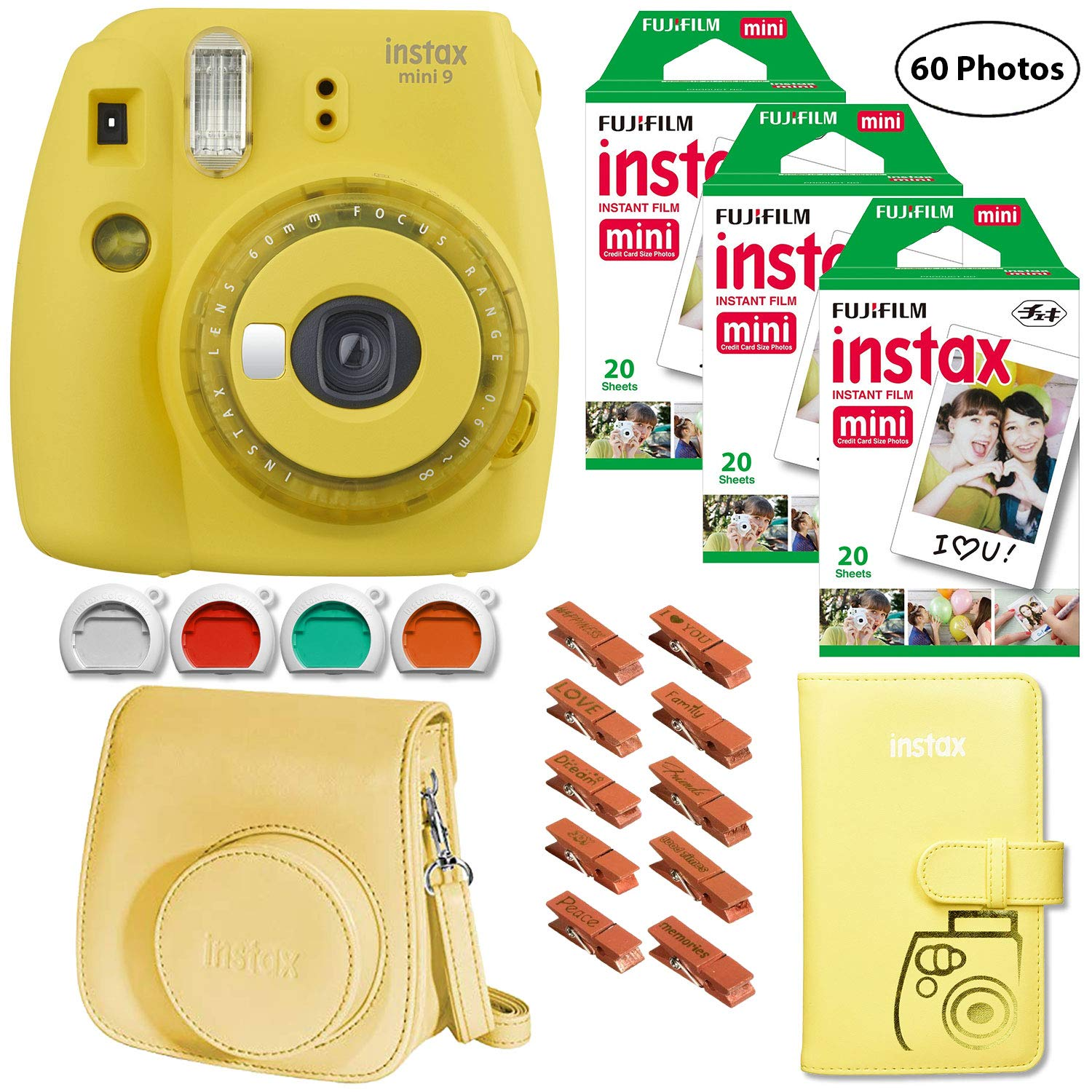 Fujifilm Instax Mini 9 (Yellow with Clear Accents), 3X Instax Film (60 Sheets), Groovy Case, Accordion Album and Hanging Pegs by Fujifilm