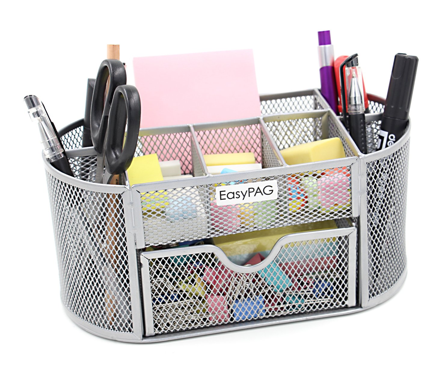Amazon.com : EasyPAG Mesh Office Desk Accessories Organizer 9 Components  With Drawer, Silver : Office Products