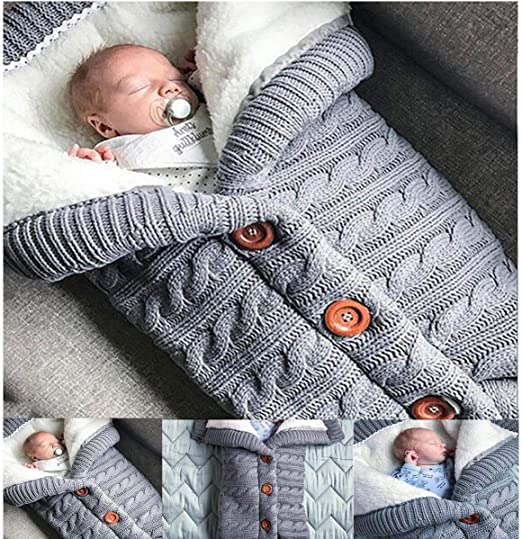 Crochet Infant Sleeping Bag Knited Blanket Stroller Wrap Newborn Baby Swaddle
