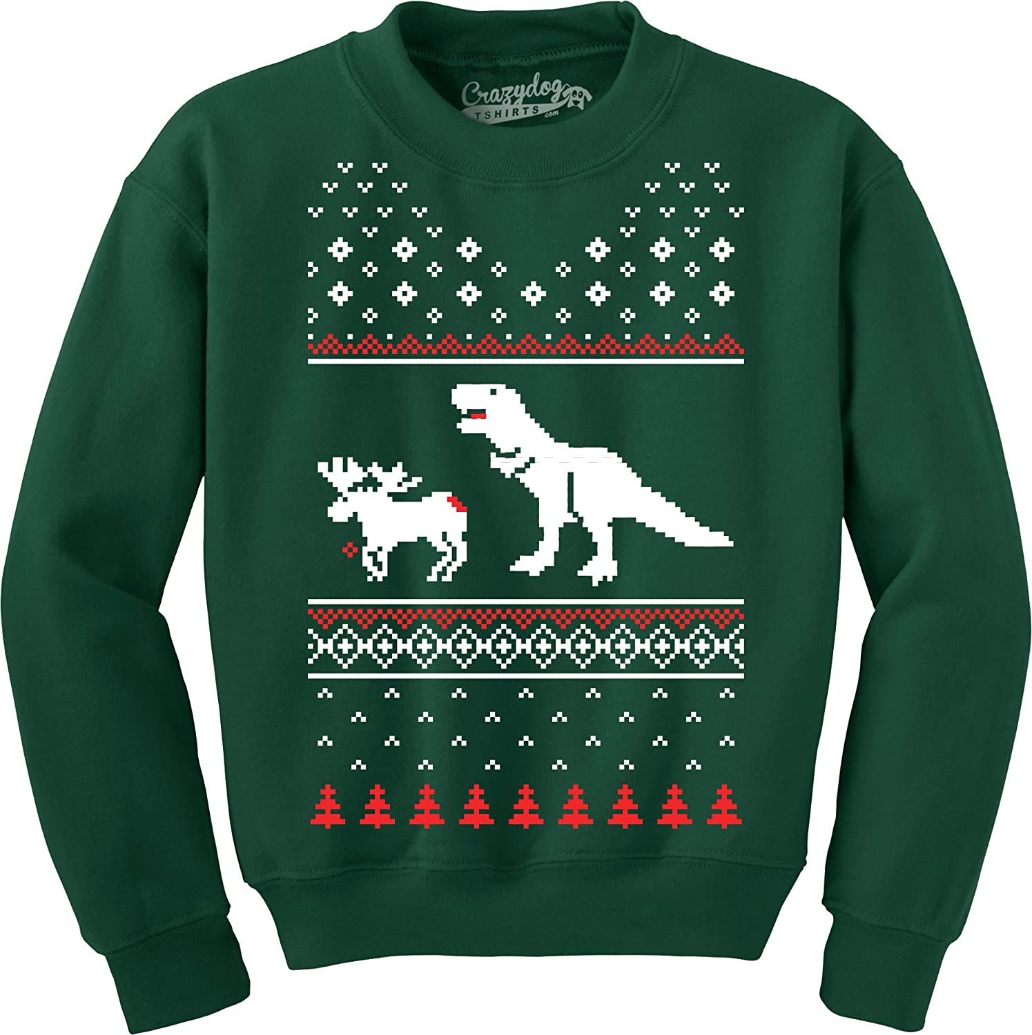 Amazon.com: T-Rex Attack Funny T Shirts Christmas Ugly Sweater ...