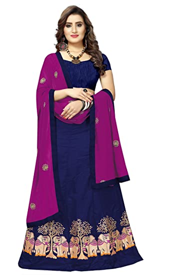 ef467dbd44e Shailaja Saree Women s Paper Silk Elephant Embroidery Work Blue Color  Lehenga Choli With Duptta Set  Amazon.in  Clothing   Accessories