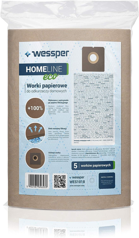 Papel Wessper 15x Bolsas para aspiradora UFESA AT 7506 Mousy