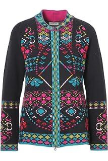 3e123656096 IVKO Cardigan Intarsia Pattern, Black (US 8 - EUR 38) at Amazon ...