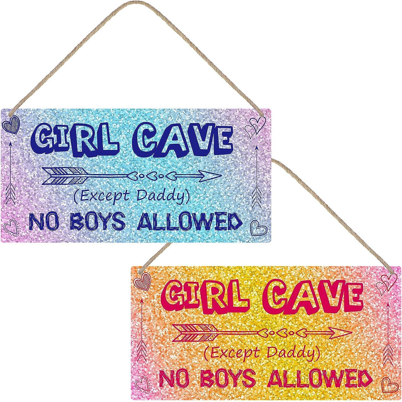 Jetec 2 Pieces Little Girl Cave Sign PVC Waterproof Girls Toddler Room Wall Decor No Boys Allowed Room Sign for Kids Girls Bedroom Nursery Door Decor, 12 x 6 Inch
