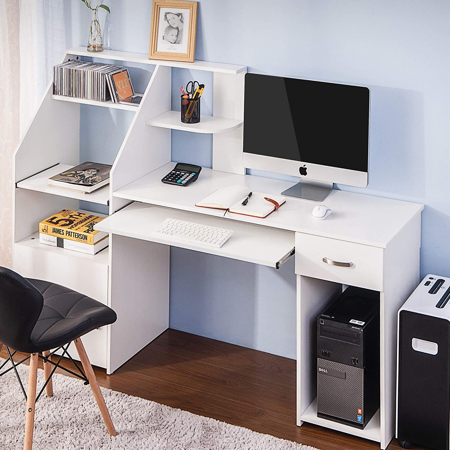 DERCASS Multi-Functions Computer Desk with Cabinet,Home Office Desk Computer Workstation, Study Writing Desk with Storage Drawer & Pull-Out Keyboard Tray