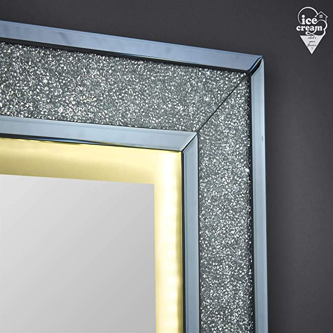 Valentina Lussuoso specchio da parete con luci a LED Touch Design a diamante schiacciato perfetto per il salone da camera da letto in grigio