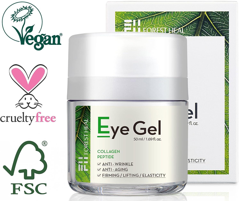 Gel pour les yeux Forest Heal avec collagène, peptides et niacinamides–anti-âge et anti-rides naturel, crème hydratante pour le dessous et le contour des yeux–50ml