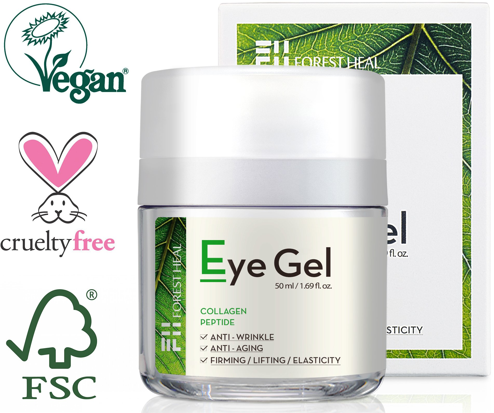 Forest Heal Eye Gel With Collagen Peptides and Niacinamide - Natural Anti Aging, Anti Wrinkle Moisturizer For Under and Around Eyes - 1.69 fl.oz. by Forest Heal (Image #1)