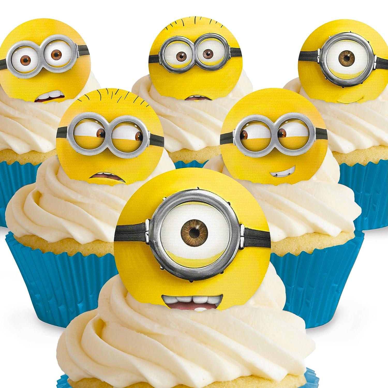 12 x PRE-CUT Despicable Me Minions Edible Cake Toppers: Amazon.co.uk ...