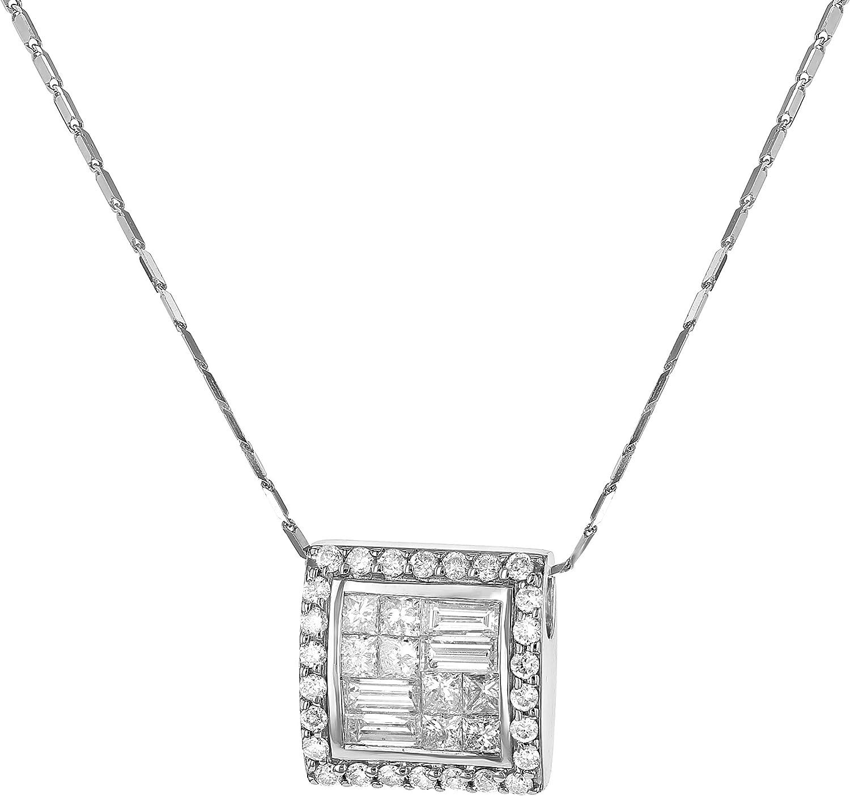 Details about  /14K White Gold Round /& Baguette Diamond Mystery Set Square Mini Pendant 0.12 Ct.