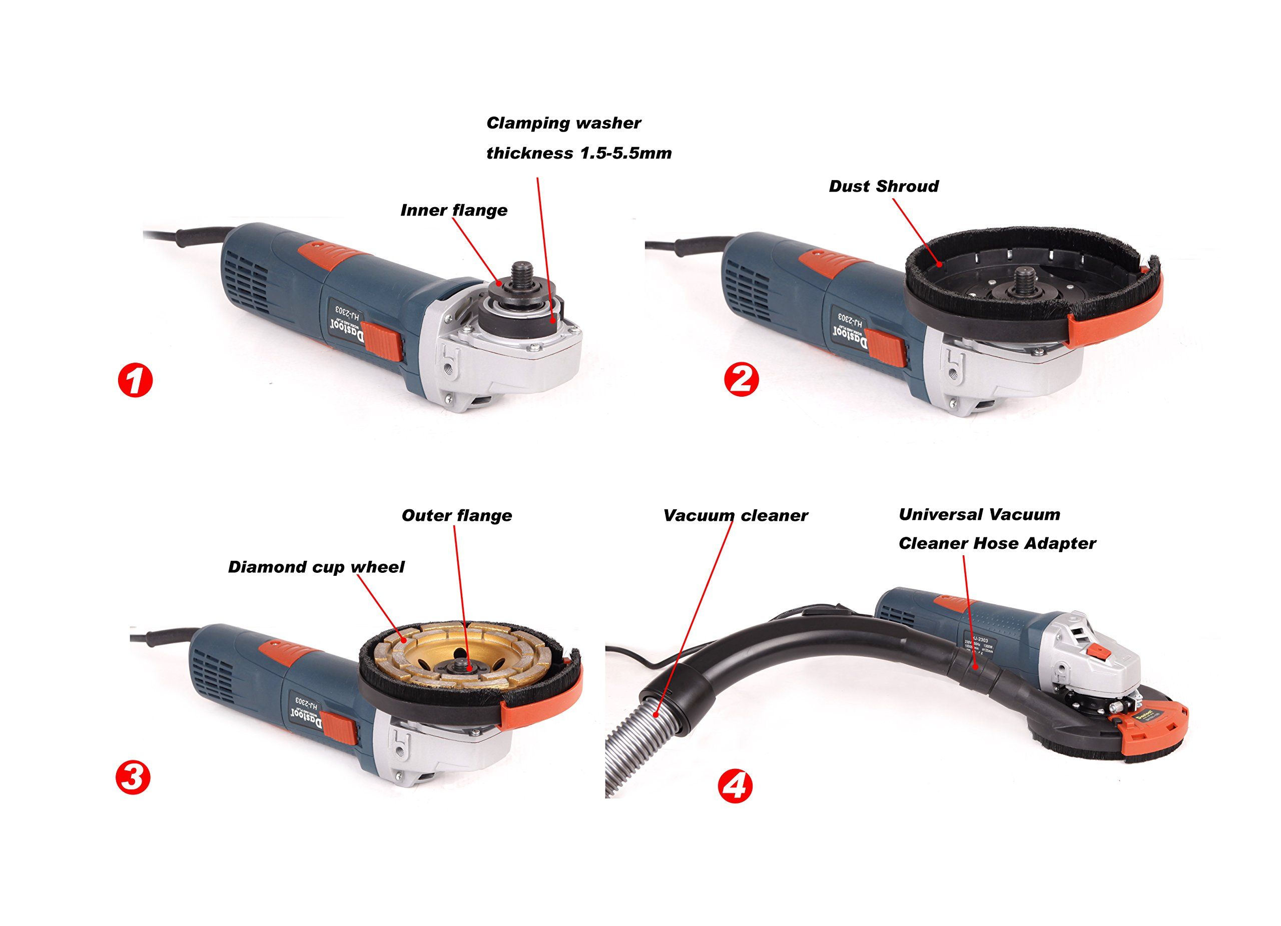 Dastool Expert Surface Grinding Dust Shroud for Angle Grinder,Universal 5-Inch Dt1701-125 by Dastool (Image #4)