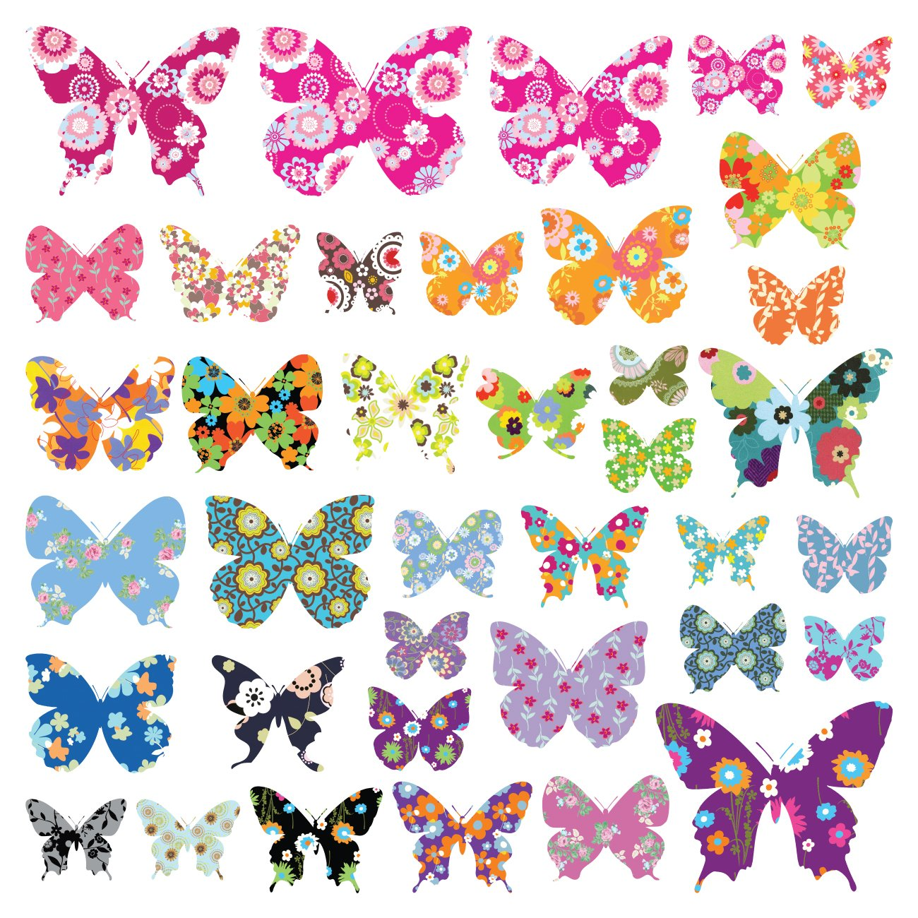 Decowall DW-1201 38 Farbige Schmetterlinge Tiere Wandtattoo Wandsticker Wandaufkleber Wanddeko f/ür Wohnzimmer Schlafzimmer Kinderzimmer