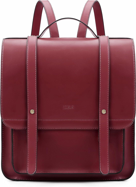 ECOSUSI Mochila Pase de Mujeres Impermeable Mochila para Portátil con Bolso Desmontable Bolso de maletín de Cuero Suave de 13 Pulgadas Ordenador Portátil Mochila de Daypacks Negocios Rojo