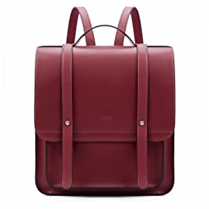 ECOSUSI Women Briefcase Laptop Backpack PU Leather Satchel Messenger Bag Fits up to 14 Inch Laptops with Small Purse, Red