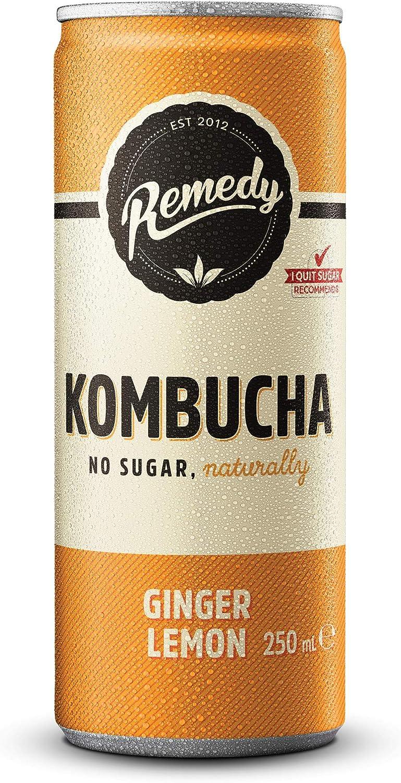 Remedy Raw Kombucha Tea – Bebida brillante cultivada viva, limón de jengibre sin azúcar, lata de 250 ml pack de 24