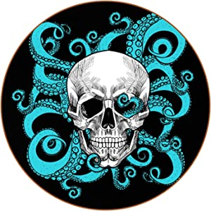 Skull with Octopus Black Cup Mat Drink Coaster for Home Restaurant Set of 6 PU Leather Coaster Set with Holder, Bar Beer Beverage