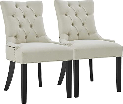 Dining Chairs Set of 2 Upholstered Armless Dining Chair Leisure Padded Chairs w/Wood Legs Luxury Tufted Chairs/Nailed Trim Accent Chairs Set