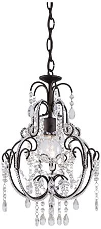 Minka Lavery Crystal Chandelier Lighting 3123-489, Mini Candle, 1 Light, 60 Watts, Bronze