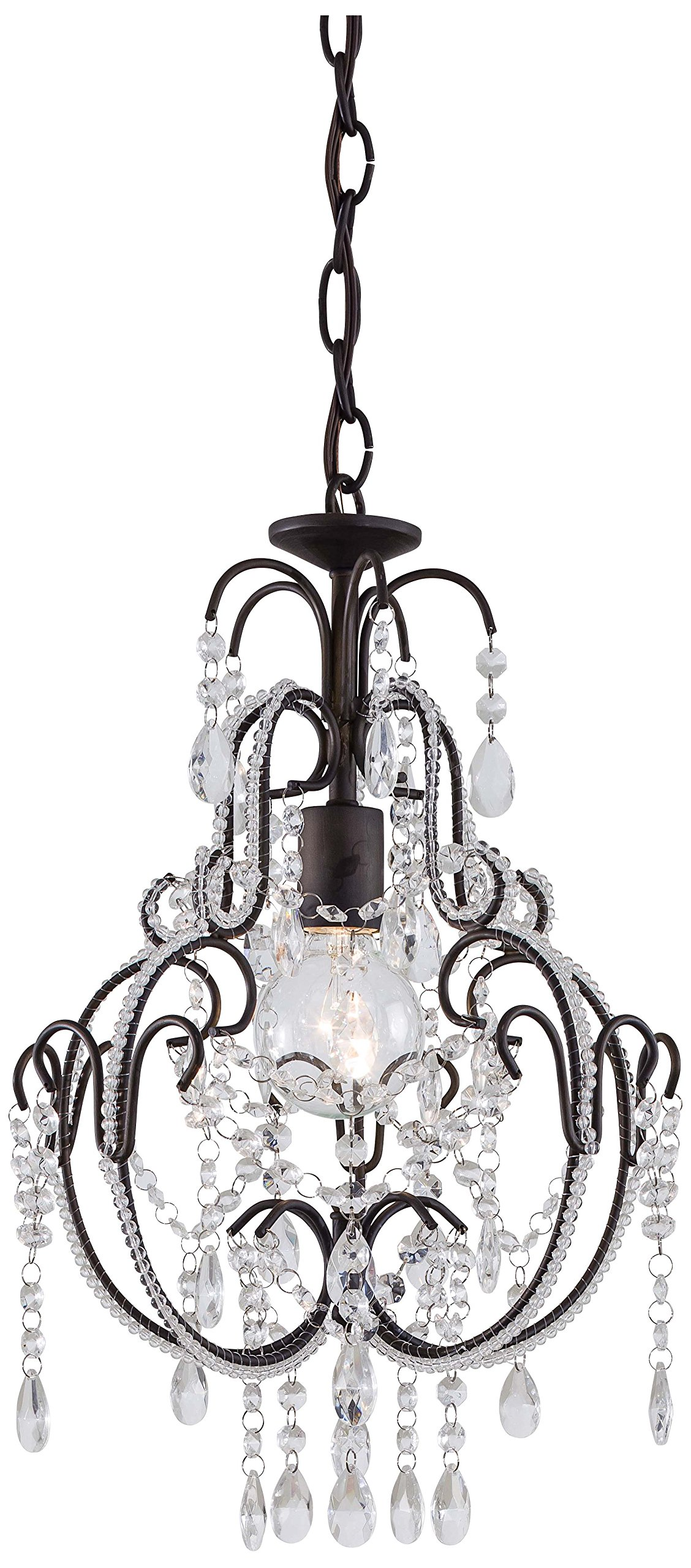 Minka Lavery 3123-489, Mini Crystal Chandelier Lighting, 1 Light, 60 Watts, Bronze by Minka