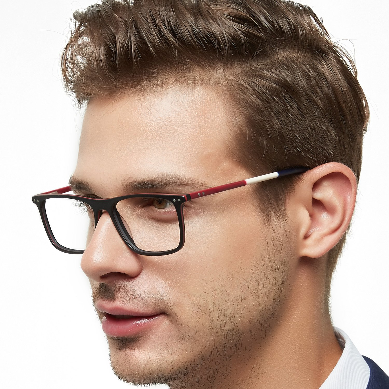 OCCI CHIARI Brand Designer Fashion Acetate Glasses Men Full Frame Spectacle Eyewear Women Spring Hinged Arms Eyeglasses(Black+Red 53mm)