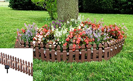 Incroyable Pacific Giftware Solar Powered Rechargeable Plastic Garden Border Fence  Panel Set Of 4