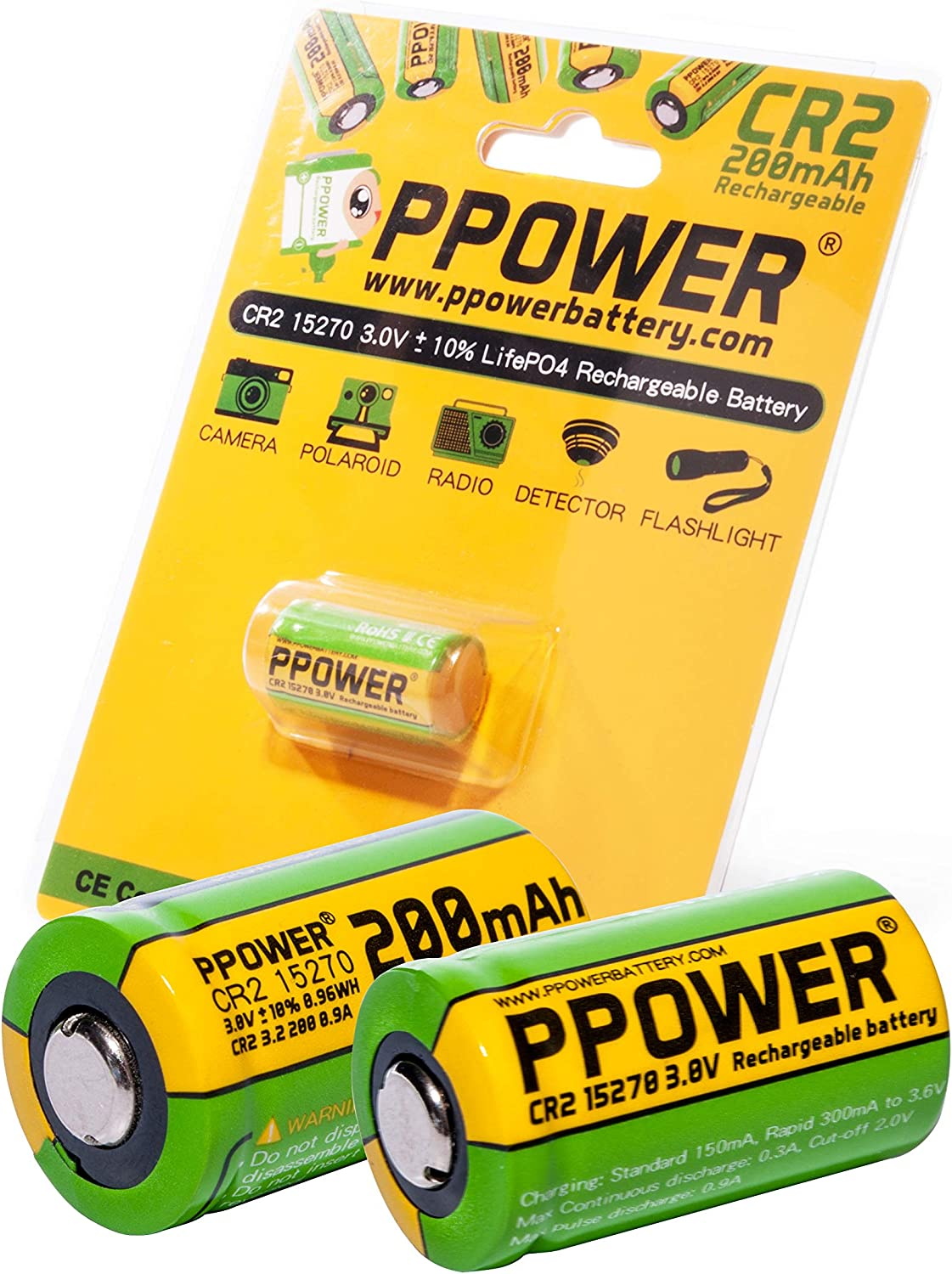 2 pilas recargables PPOWER 3 V de capacidad real de 200 mAh CR2 15270 15266 LiFePO4