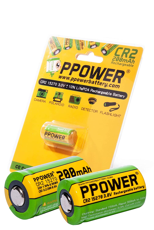 2X PPOWER 3V Capacidad Real 200mAh CR2 15270 15266 Baterías ...