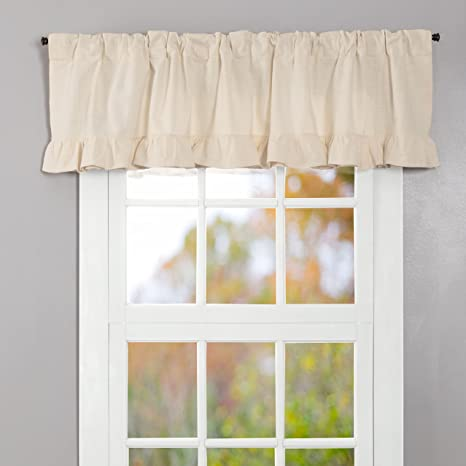 VHC Muslin Bleached White Ruffled Country Farmhouse Cottage Window Panels