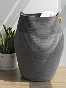 Goodpick Laundry Hamper | Dirty Clothes Hamper | Wicker Cotton Rope Tall Laundry Basket, Modern Curve Bucket Bedroom Decort 25.6 inches Height, Dark Gray