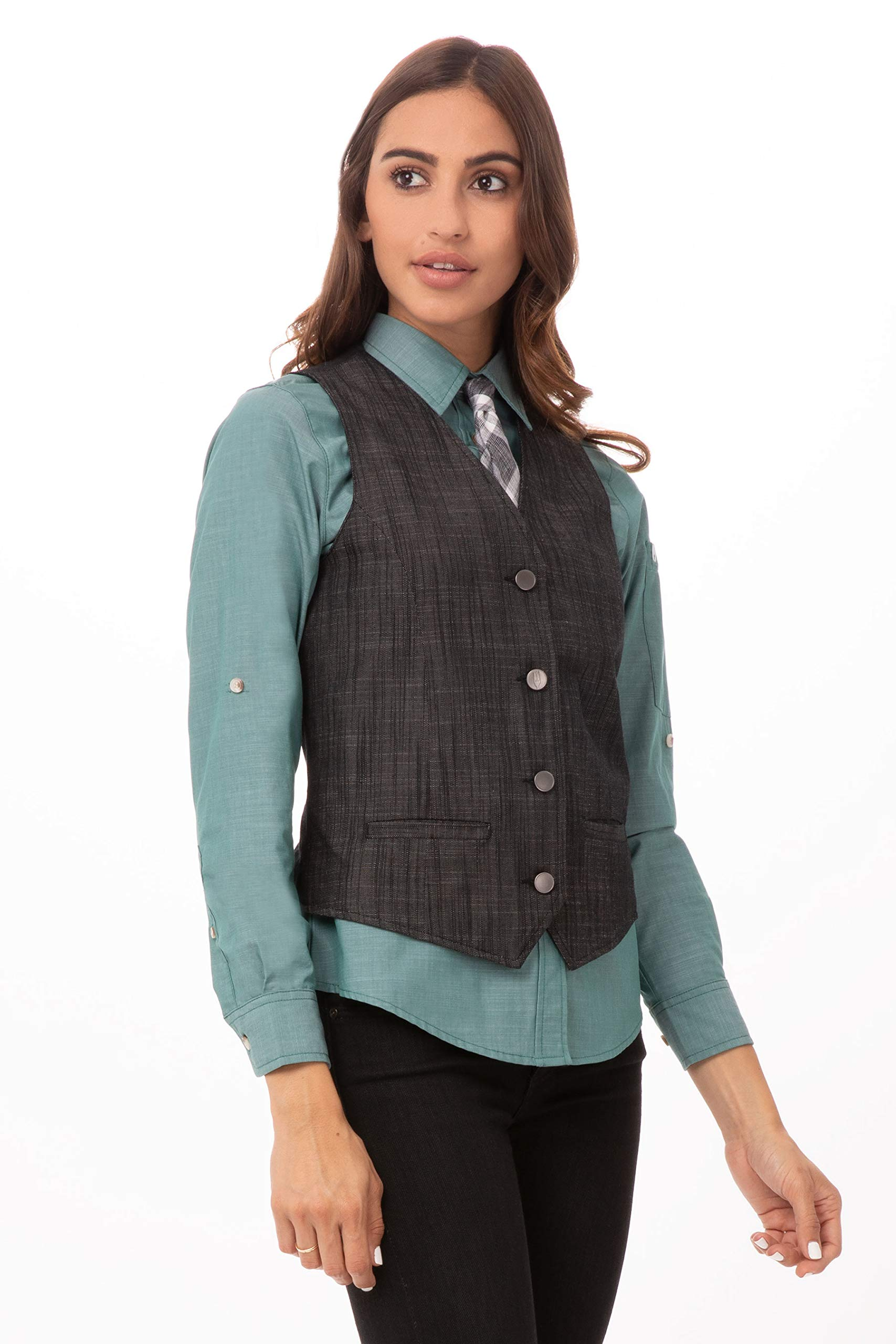 Chef Works Women's Augustine Vest, Black, Large by Chef Works