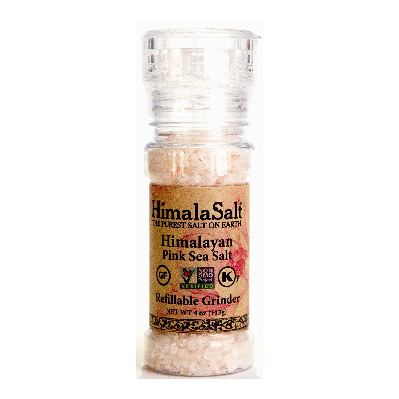 HimalaSalt Refillable/Adjustable Himalayan Salt Grinder - 4 oz