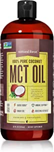Best Value Premium MCT Oil 32 Ounce, 100% Pure Made from Non-GMO Verified Coconuts - *Best MCT Oil for Weight Loss and Brain Health* BPA Free Bottle   Certified Keto, Paleo, and Vegan by Natural Force