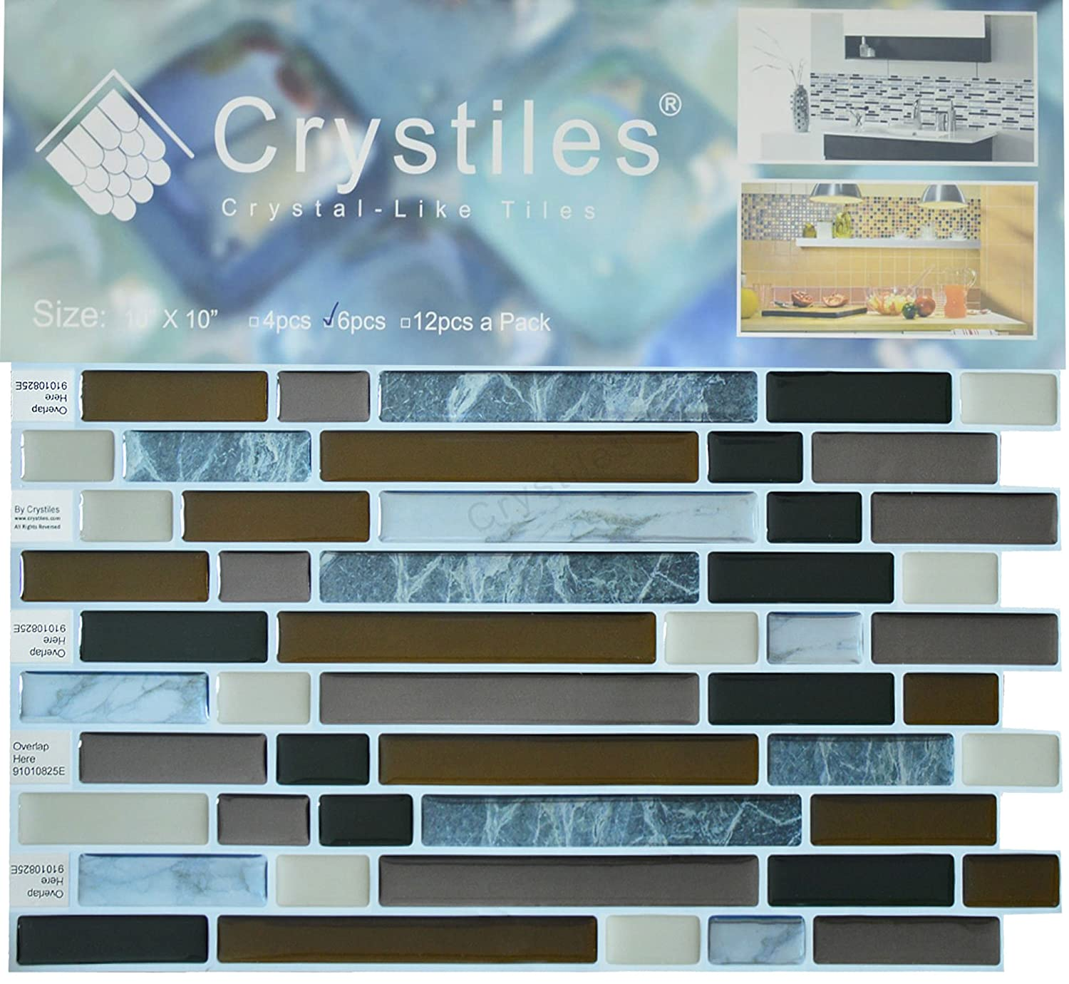 """Crystiles Peel and Stick Self-Adhesive DIY Backsplash Stick-on Vinyl Wall Tiles for Kitchen and Bathroom Décor Projects, Item# 91010825, 10"""" X ..."""