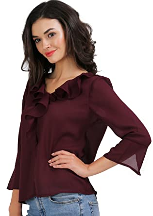 1372c236d27 AELO Women's Crepe Frill Top - (Wine): Amazon.in: Clothing & Accessories