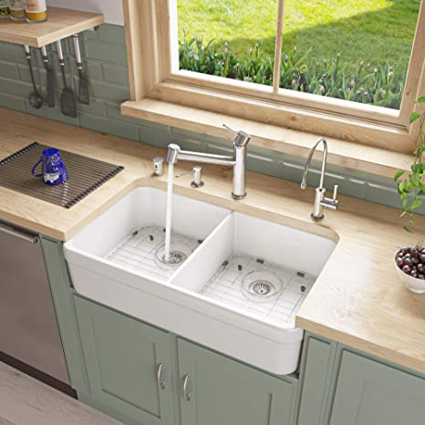 Alfi Brand Ab512 32 Inch Double Bowl Fireclay Farmhouse Kitchen Sink With 1 3 4 Inch Lip White Amazon Com