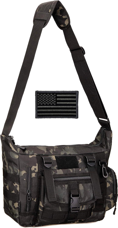 Protector Plus Tactical Messenger Bag Men Military MOLLE Sling Shoulder Pack Briefcase Assault Gear Handbags Outdoor Utility Carry Satchel Laptop Case (Patch Included)