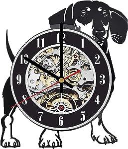 Dachshund Dog Wall Clock, Dachshund Dog Art, Pet Home Decor, Dachshund Dog Wall Decor, Dog Vinyl Clock, Dog lp Clock, Dachshund Dog Gifts for Dog Owner