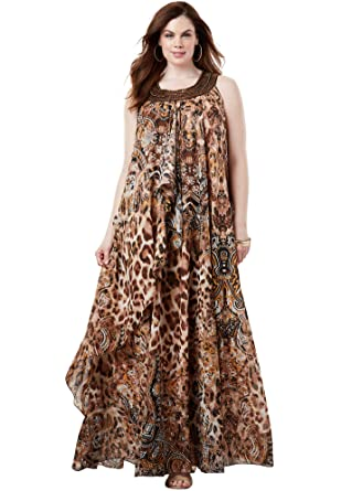 Roamans Women\'s Plus Size Tribal Maxi Dress